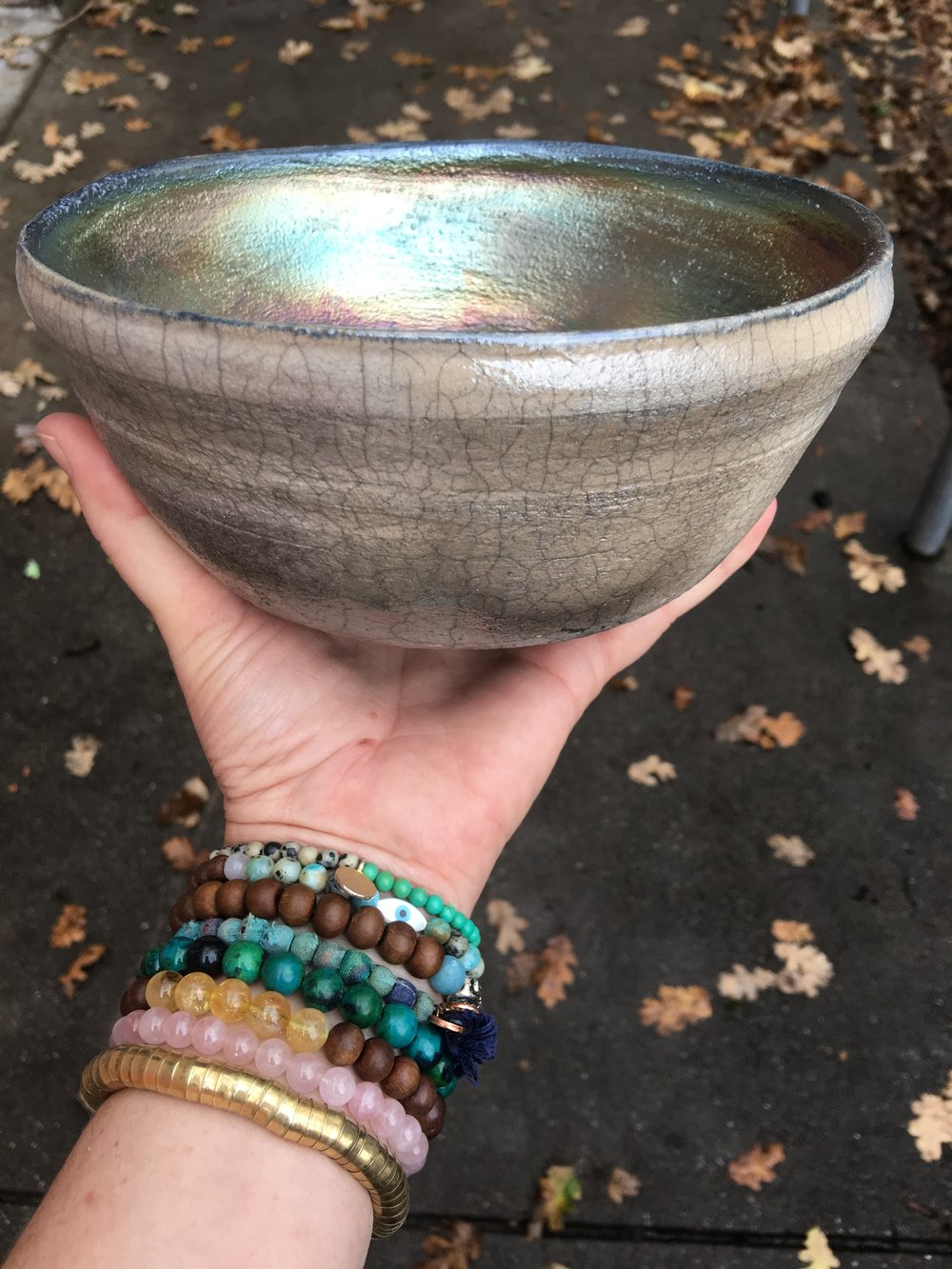 Raku firing process used for this bowl