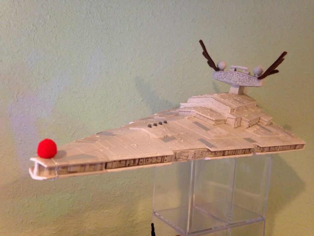 This Star Destroyer got the classic Rudolph car treatment. Let's hope they don't fall off when they go into hyperspace.