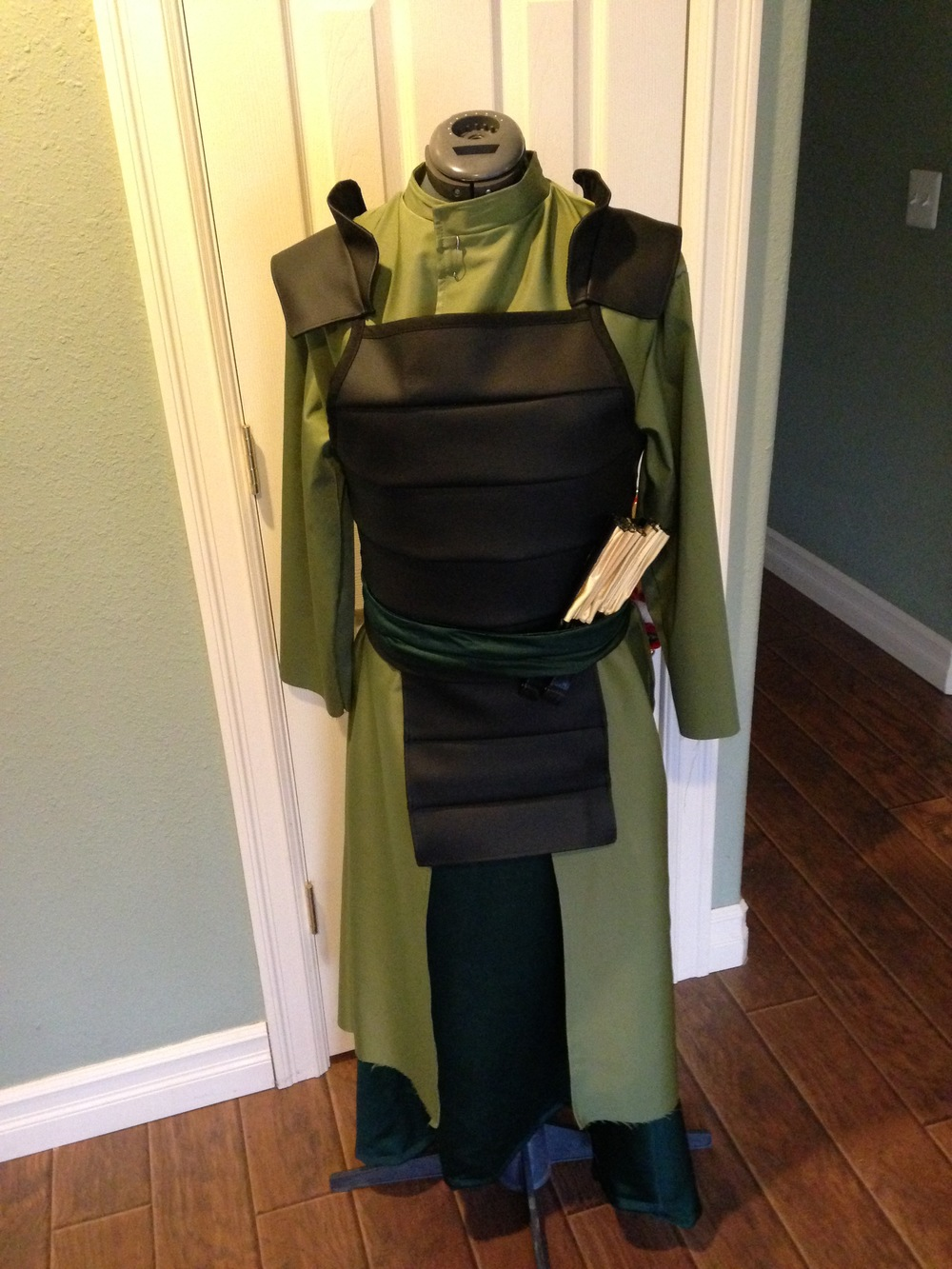 It's still missing the side flaps in this photo, but it actually looks like a Kyoshi warrior, HUZZAH!