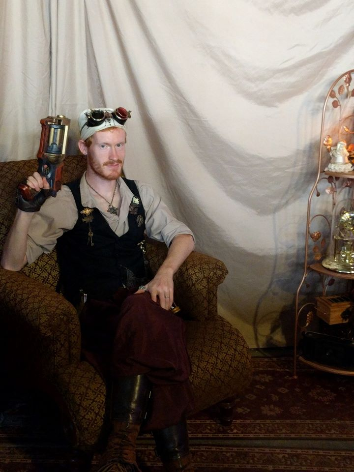 This was from Ingenuityfest last year, where we set up an actual steampunk photo booth and had a bunch of fun accessories for people to wear and get their picture taken.