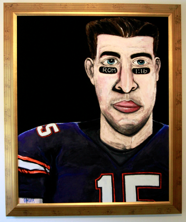 VELVET TEBOW /  paint on velvet / framed / 1100  SOLD