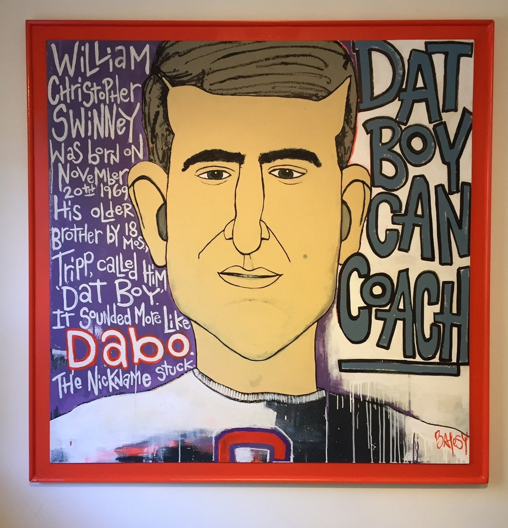 "DABO / paint on wood / 52.5"" x 52.5"" / 1750 / SOLD / In Collection of CNN Headquarters, Atlanta, GA"