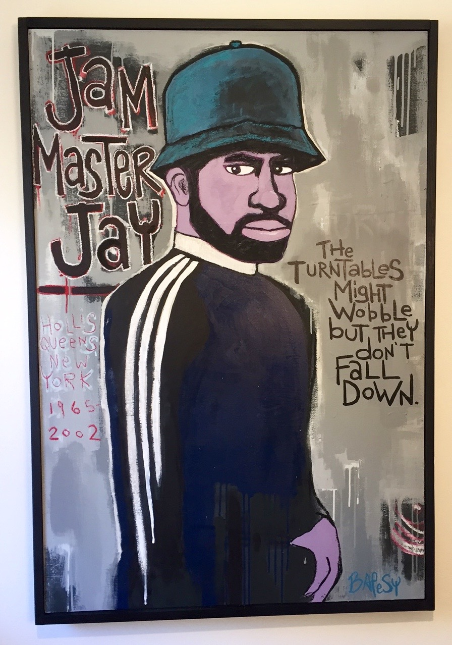 "Jam Master Jay / paint on wood / 38""x50"" / 900"
