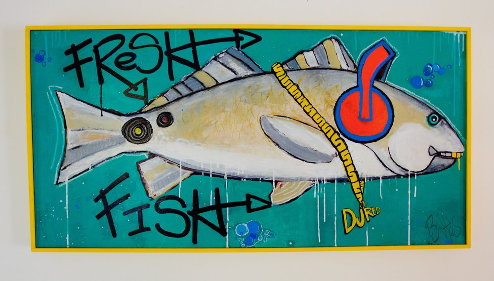 "Fresh Fish - DJ Red / 49"" x 25"" / 500 / Paint on Wood SOLD"