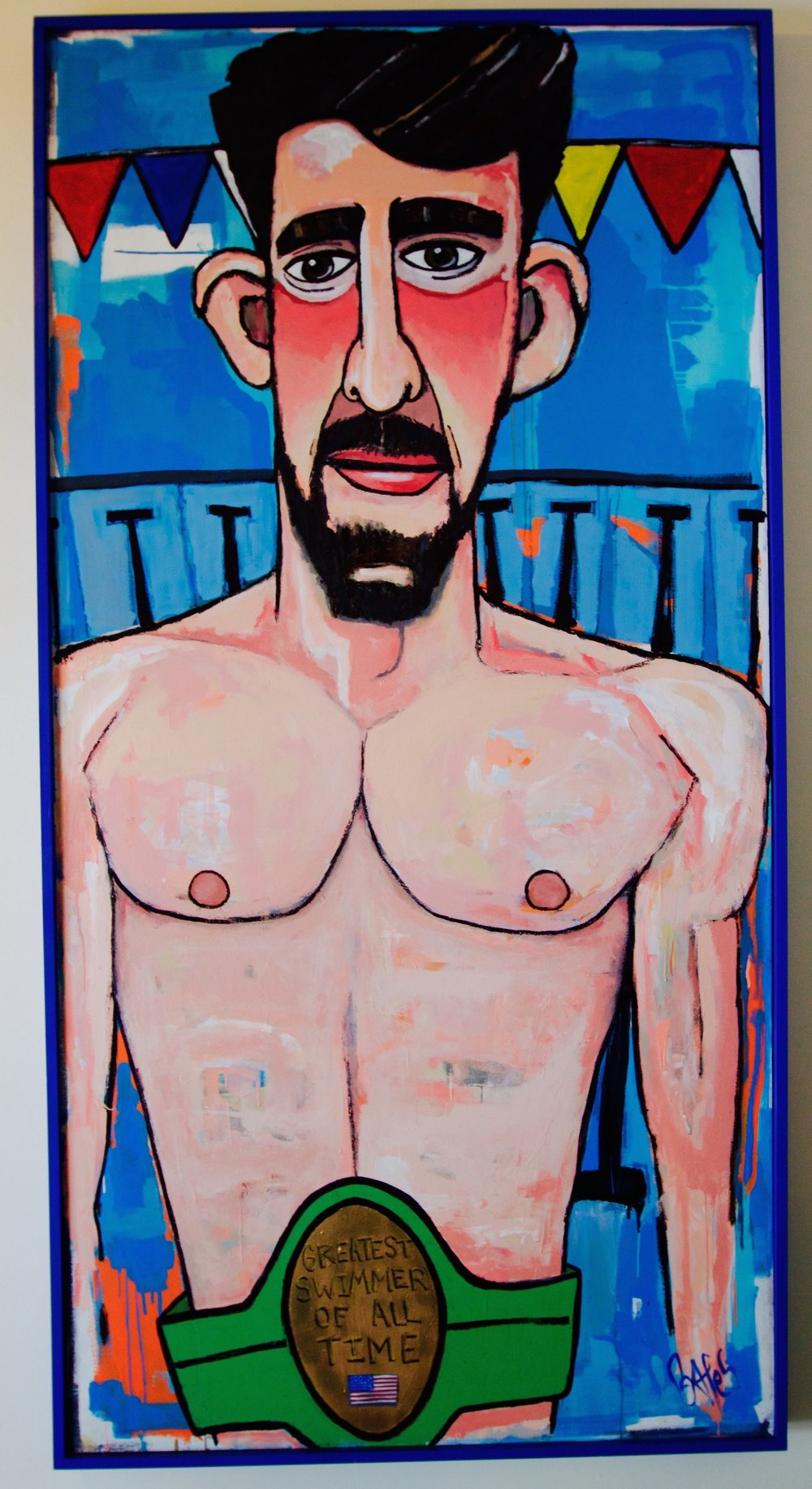 Greatest Swimmer of All Time - Michael Phelps / 8ft. x 4ft. / Paint on wood / email for pricing