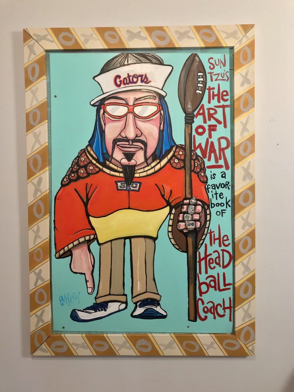 Head Ball Coach - The Art of War 3.3' x 4.4' - paint on wood - $2000