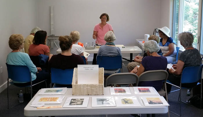 Linda Germain - gelatin printmaking demo