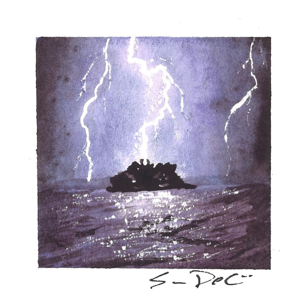 lightning strikes the rock