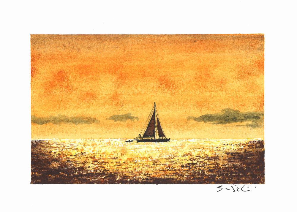 sailboat at sunset - SOLD