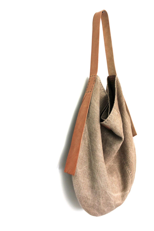 Handmade Belgian linen slouch bag - Sun Kissed Chaparral