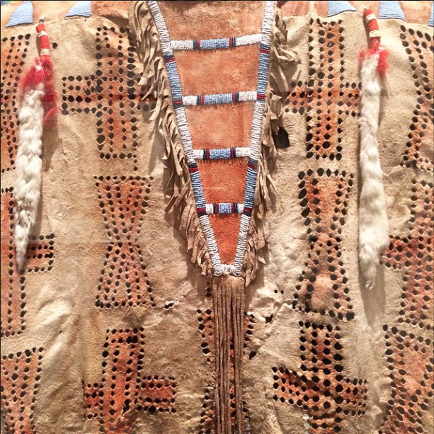 Early 20th C. lucky War Shirt by Piegan-Blackfoot artist Big Plume, so lucky it was copied several times to ensure victory in battle. What's your lucky War Shirt looking like?