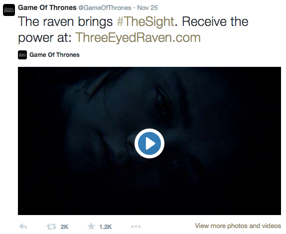 The initial tweet from @GameofThrones.