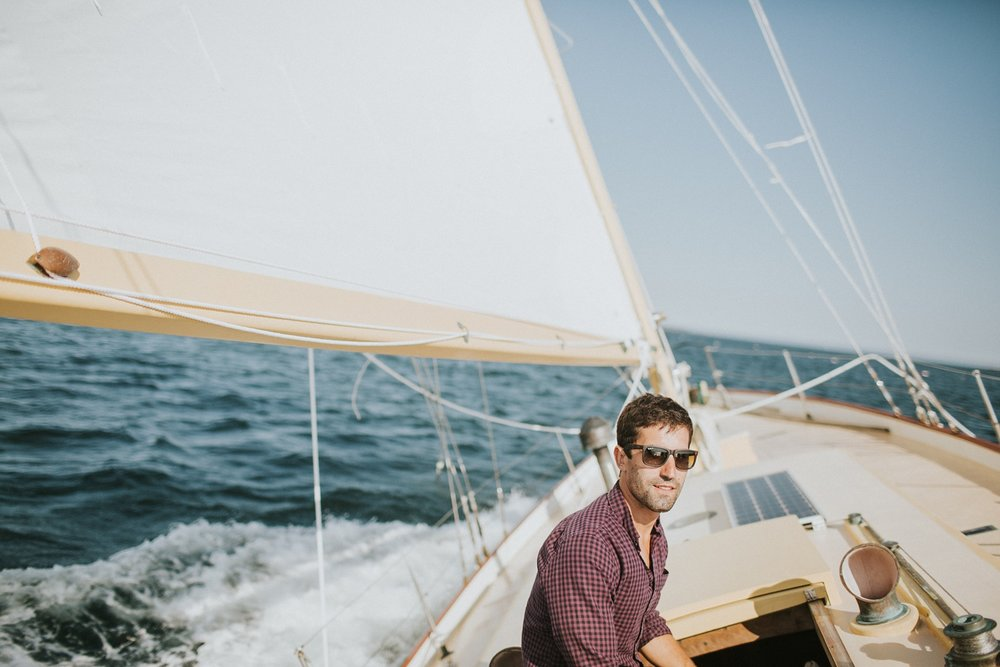 maine engagement photographer sail boat engagement session