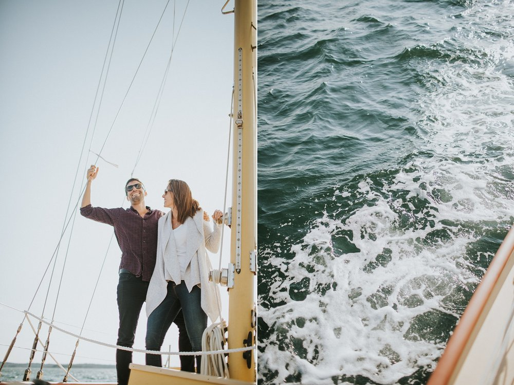 stonington maine engagement photographer sailboat engagement session
