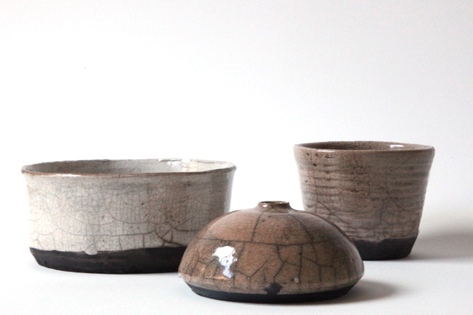 Phoebe McDonald raku bowl, vase and cup.jpg