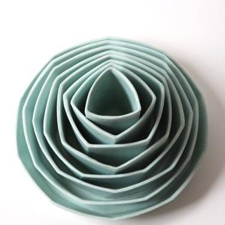 Geometric nesting vessels , slip cast porcelain, 2017.