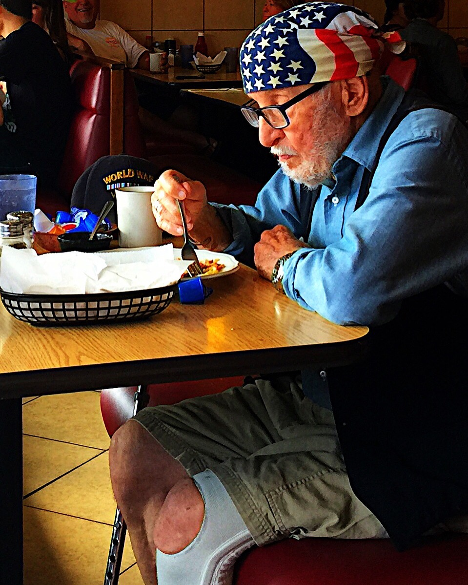 American WWII Vet at breakfast at Margarita's Restaurant in Ocean Beach