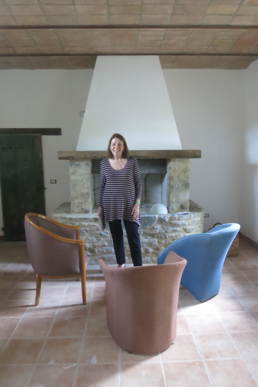 Elisabeth Wholey in her Umbria Farmhouse restoration.