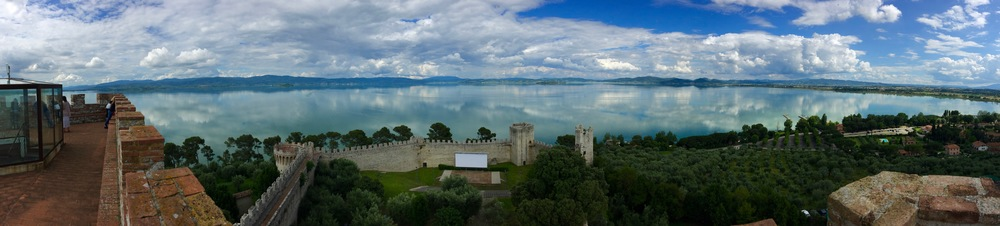 Lake Trasimeno from the castle in Castiglione de Lago