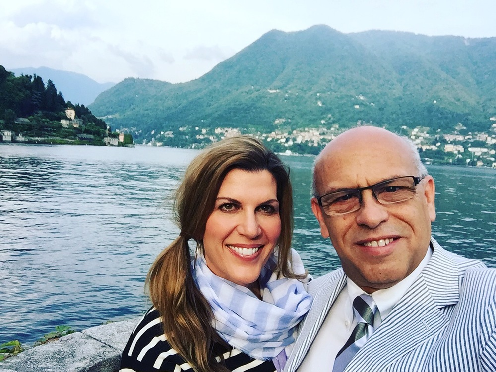 Isabel and I on our wedding spot at Villa d'Este, Lake Como, Italy