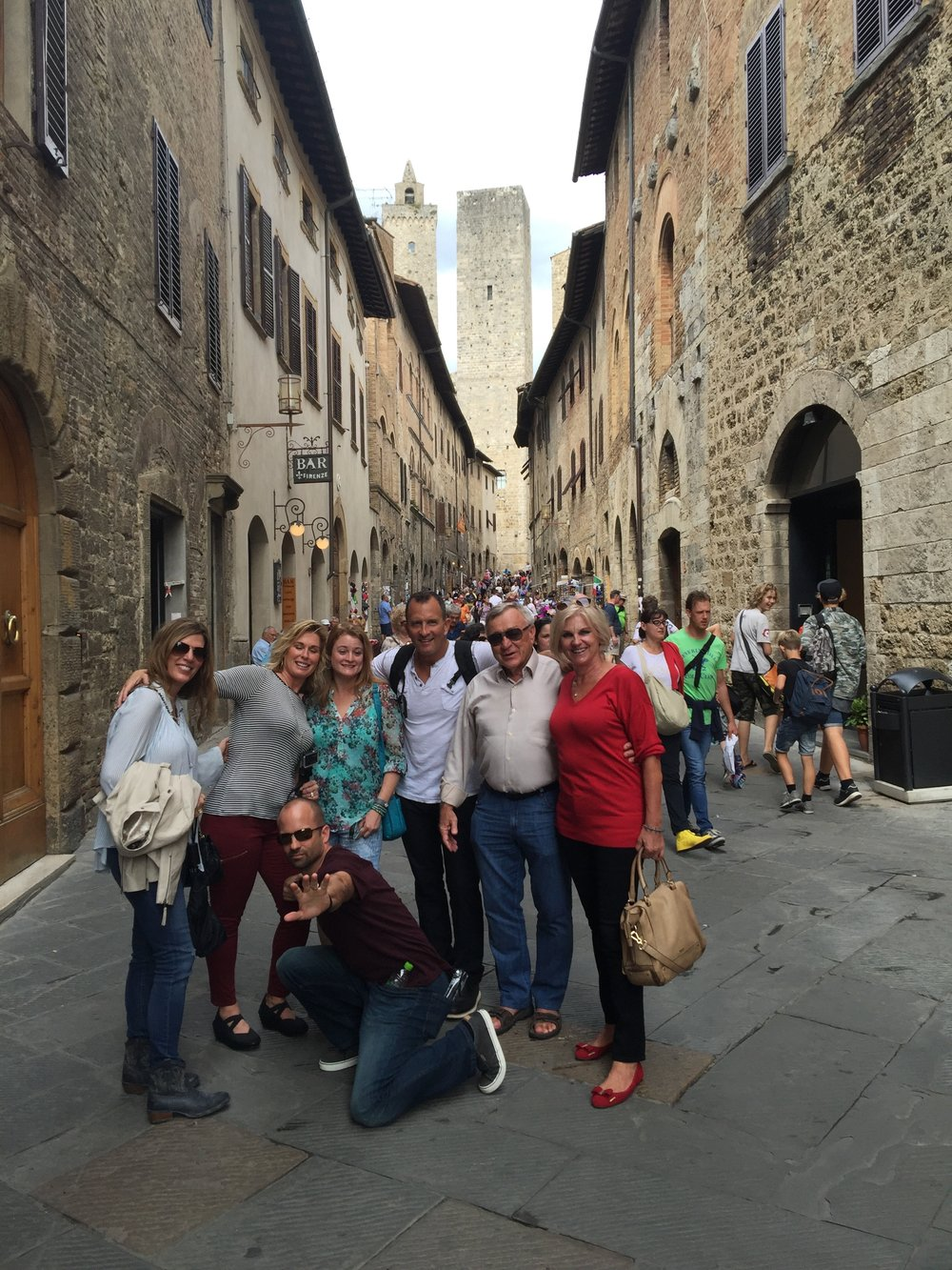 Always having good times - here on the streets of San Gimignano.
