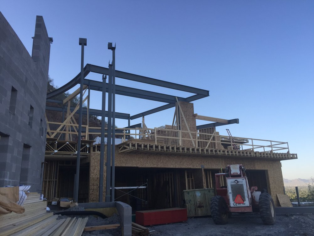 Steel underway on this Candelaria Design ~ Schultz Development hillside home in Paradise Valley.
