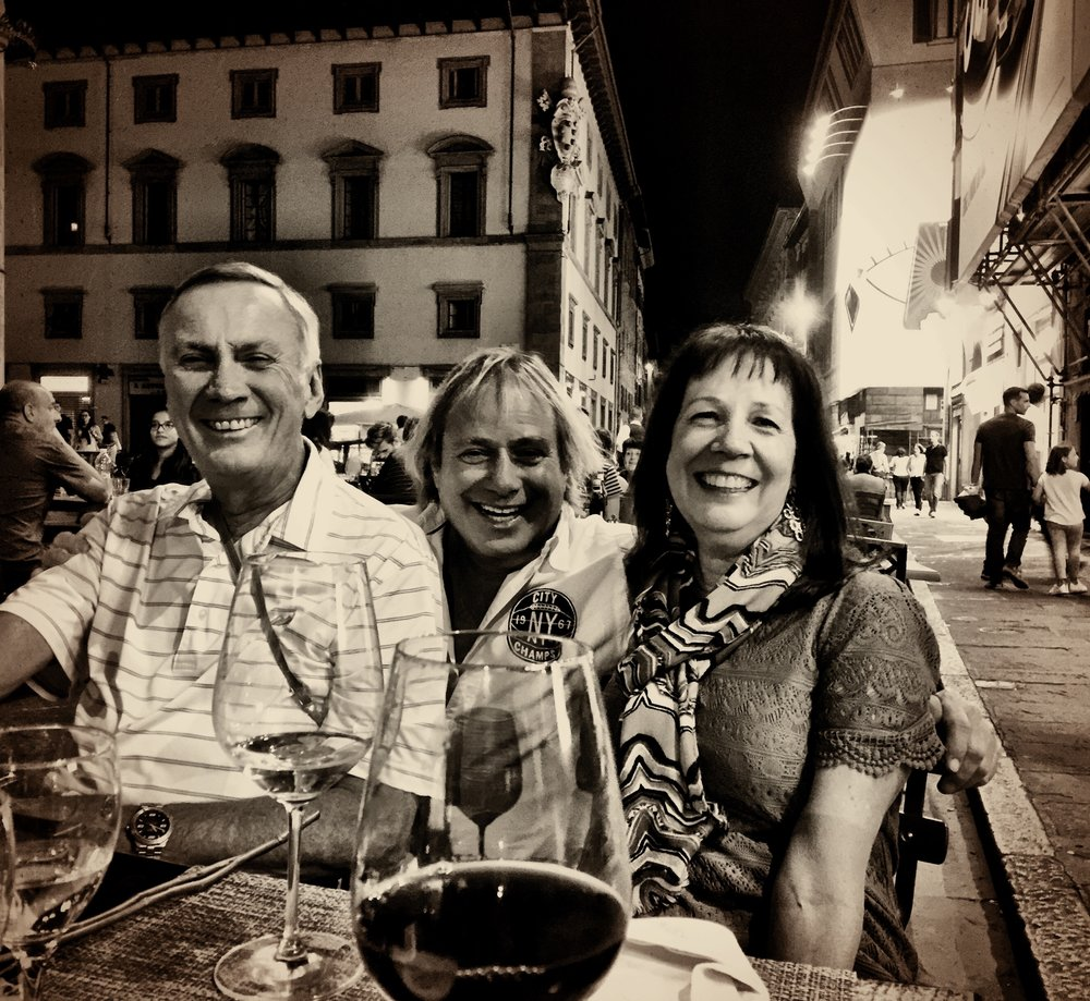 Phil and Renee Giltner with a special appearance and hug from Walter Spitz in Florence, Italy 2015