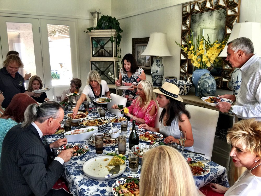 The Giltners and friends at Sunday dinner at Casa Candelaria