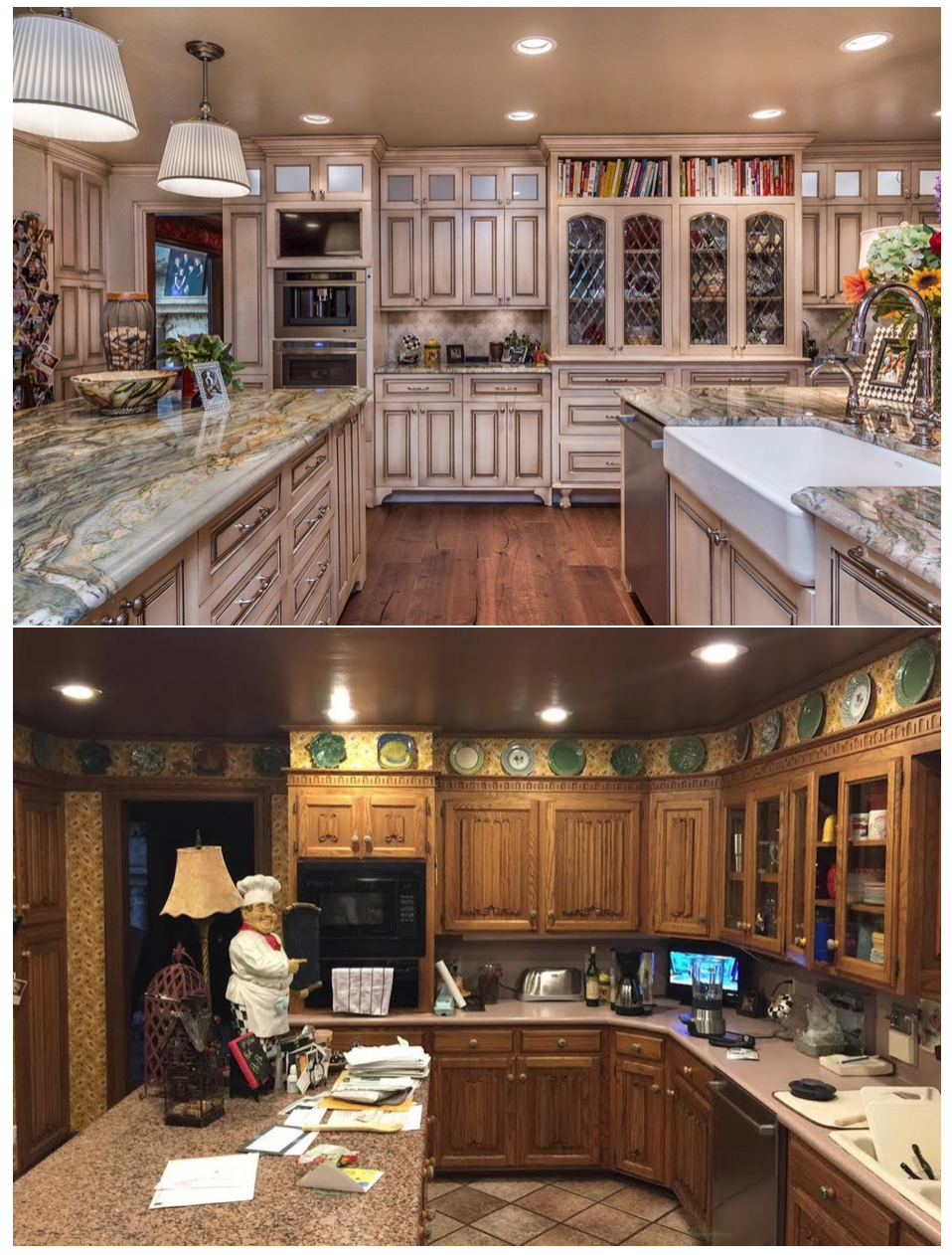 Top - Kitchen After, Bottom - Kitchen Before