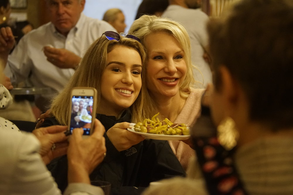 Bella and Denise enjoying pintos in San Sebastian