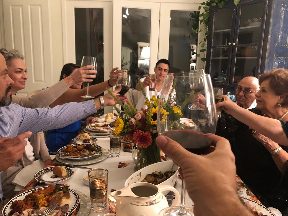The Candelaria Clan Thanksgiving toast!