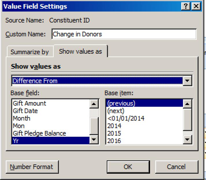 Raiser's Edge Pivot Reports Value Field Settings
