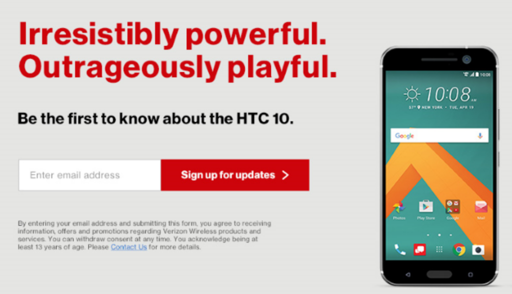 Verizon Wireless Home Page - HTC 10 Opt-In