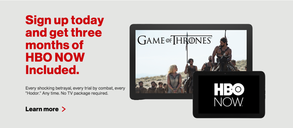 Verizon Wireless Home Page - HBO NOW Promo