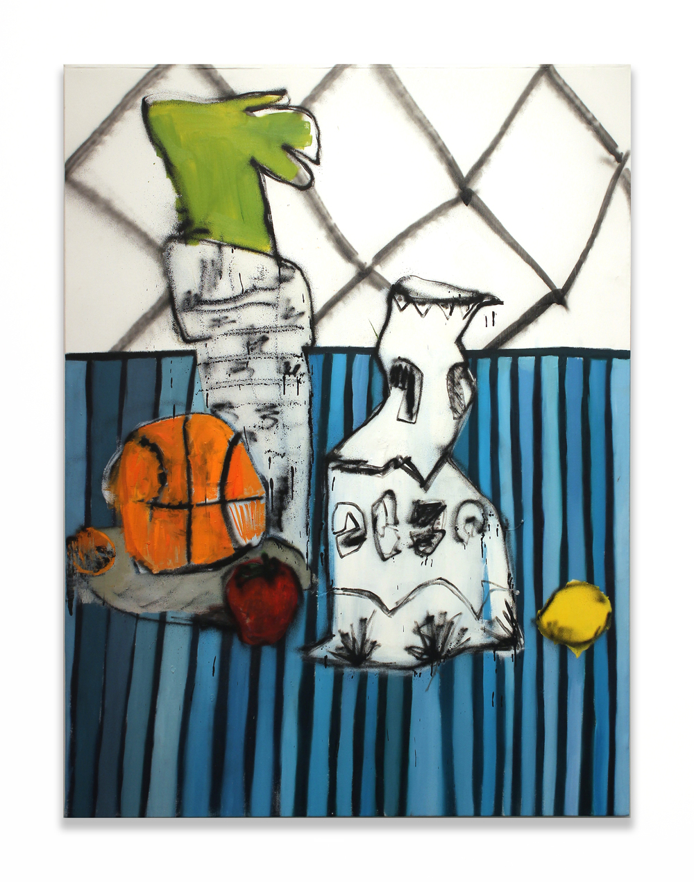 Still Life with Basketball, Vase, and Plant
