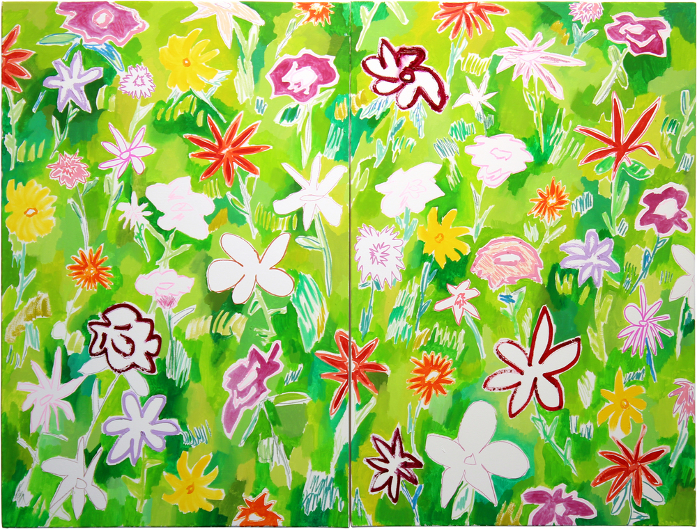 Wildflowers (2)  2016  oil on canvas  36x48 total   36x24 each canvas