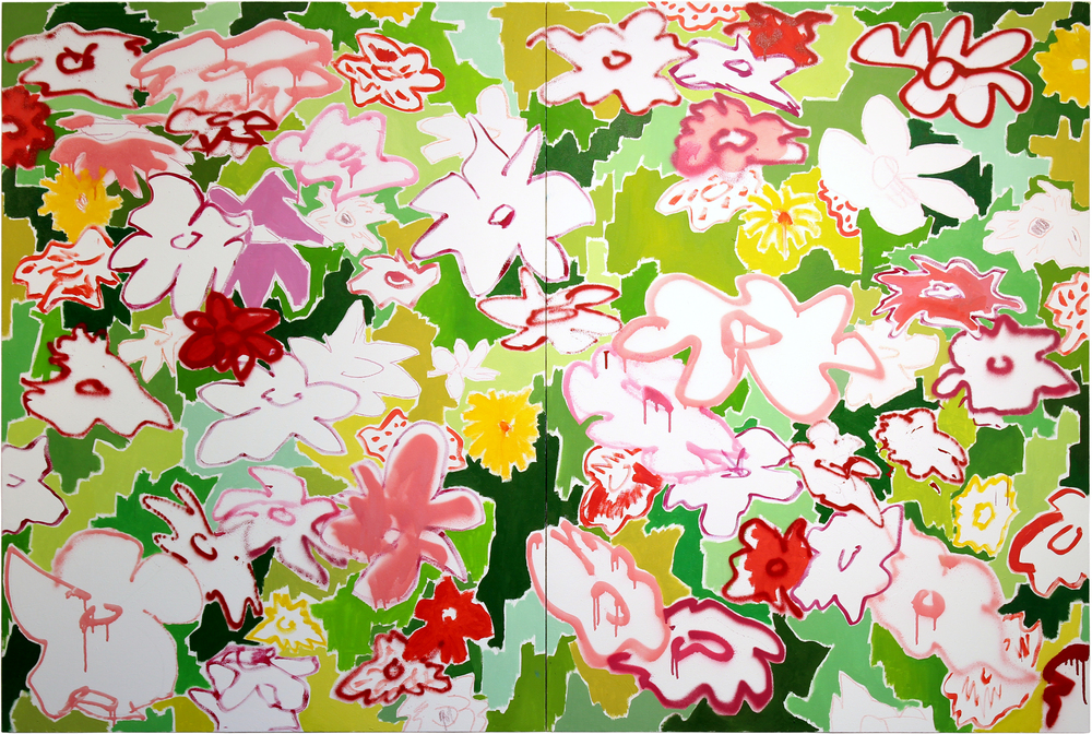 WildFlowers  2016  Oil and spray paint on canvas over panel  72 x 48 inches total  48 x 36 inches each panel