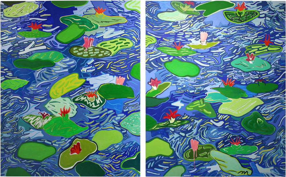 Water Lilies  2016  Oil and spray paint on canvas over panel  86 x 60 inches total  43 x 60 inches each panel