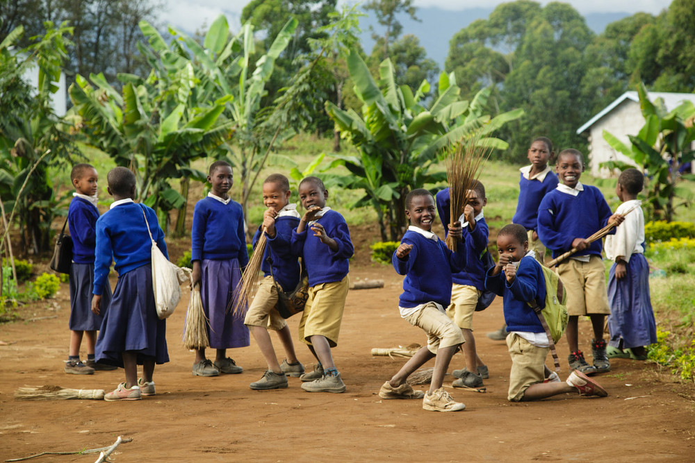 School children striking a pose in Kibosho-Umbwe