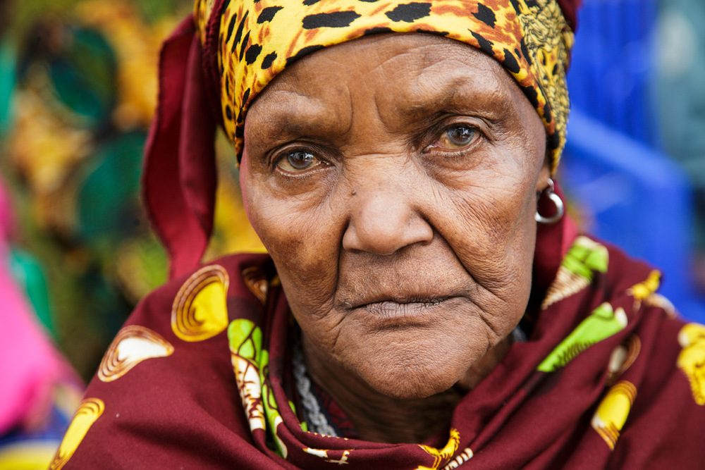 Elderly woman waiting to be examined at the free eye clinic sponsored by Artists for World Peace, the non-profit I traveled with.