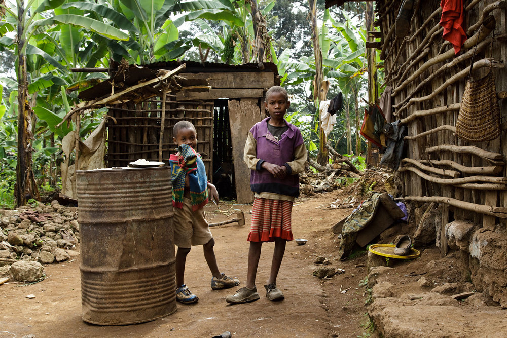 Village children in front of their hut in Kibosho-Umbwe.