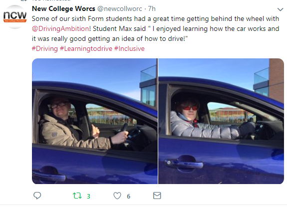 New College Worcester    Sixth Form students had such fun getting behind the wheel and experiencing what it might be like to learn to drive!  Using the vast space at Turweston Aerodrome, students could safely navigate the way-marked roads  Phil Bresnen new college Worcester for the blind