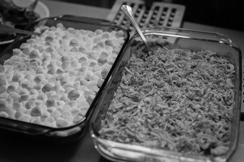 Sweet potatoes with copious marshmallows and green bean casserol