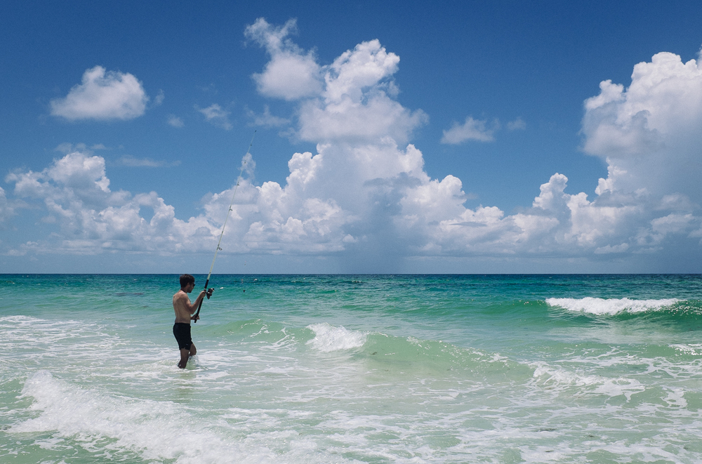 Fishing in the surf at Grayton Beach, Florida