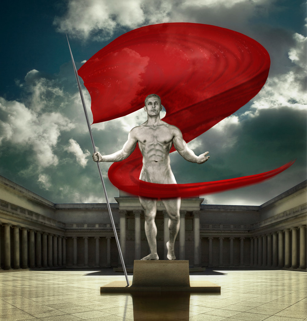 Triumphant Statue The statue in this composite original is an actual bodybuilder who commissioned and posed for me to execute this piece based on his specifications. The backdrops are all separate composites as well as the flag (created in a 3D environment to reflect lighting and translucency); the client never actually held a pole during our photo-session.
