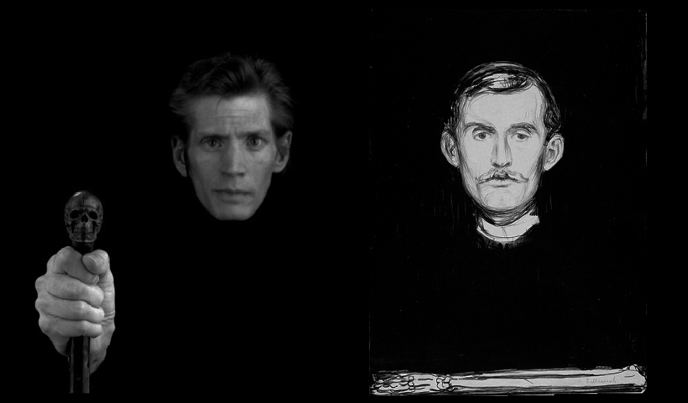 "Robert Mapplethorpe, ""Self Portrait"" (1988)                         Edvard Munch, ""Self-Portrait with Skeleton Arm"" (1895)"