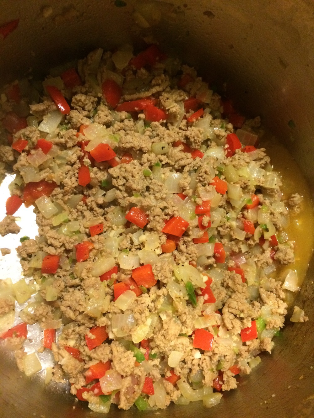 Cooked turkey & vegetables, before adding spices & tomato paste