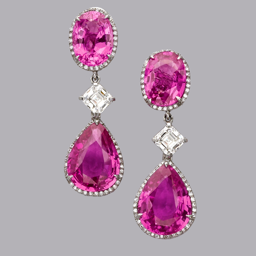 2nd Place 2007 Spectrum Award, Classic Jewelry Division   25ct Pink Sapphire and Diamond earings