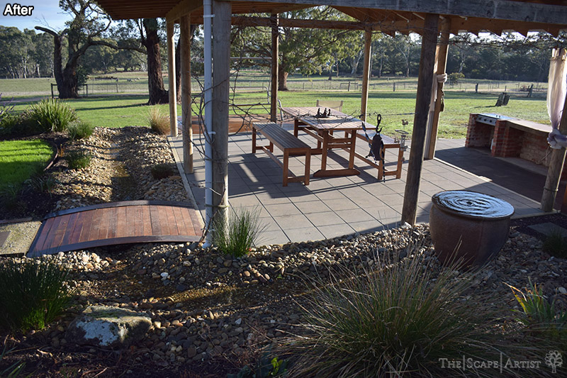 Seating, paving & garden beds