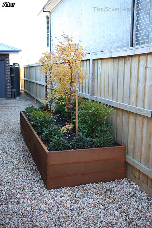 Landscaping with new garden planter near Ballarat